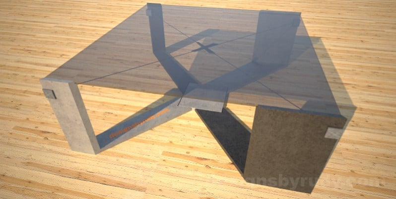 Concrete Coffee Table with X Shaped Base and glass top Designs by Rudy (10)