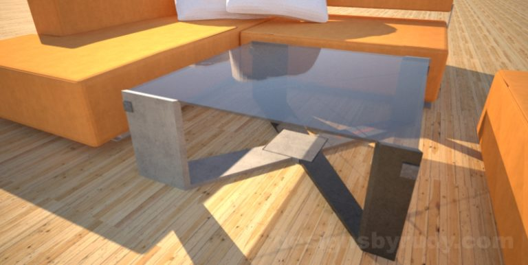 Concrete Coffee Table with X Shaped Base and glass top Designs by Rudy (2)
