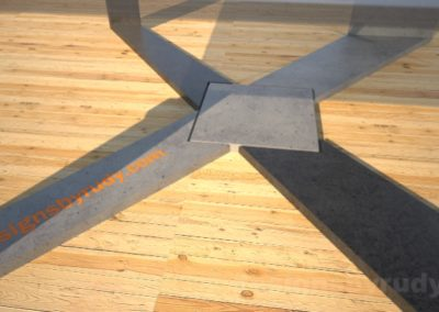 Concrete Coffee Table with X Shaped Base and glass top Designs by Rudy (9)