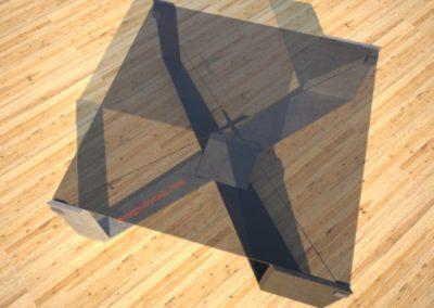 "Concrete ""X"" Base Glass Top Coffee Table"