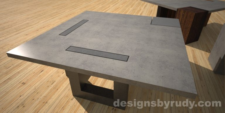 Concrete coffee table with square open center legs - Designs By Rudy