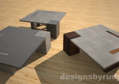 Concrete coffee tables perspective view - Designs By Rudy