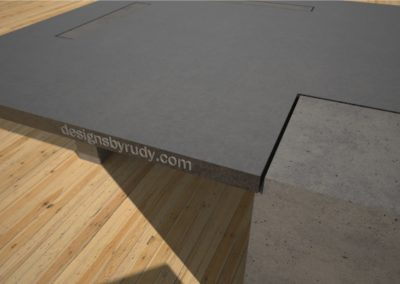Concrete coffee tables with square concrete legs - Designs By Rudy