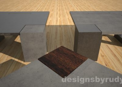 Concrete coffee tables with square solid wood and concrete legs - Designs By Rudy