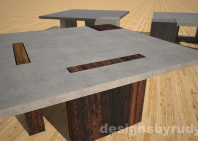 concrete coffee table with square solid wood legs - Designs By Rudy