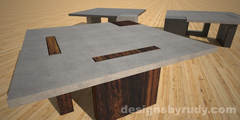 concrete coffee table with square solid wood legs   Designs By Rudy. Concrete Coffee Table with Square Wood or Concrete Legs