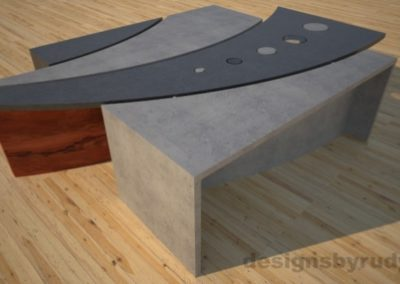 2 Concrete coffee table geometric series CIRCLES, Desings by Rudy