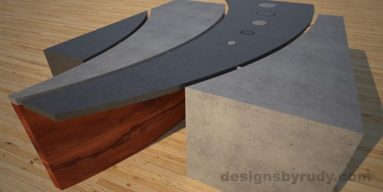 3 Concrete coffee table geometric series CIRCLES, Desings by Rudy