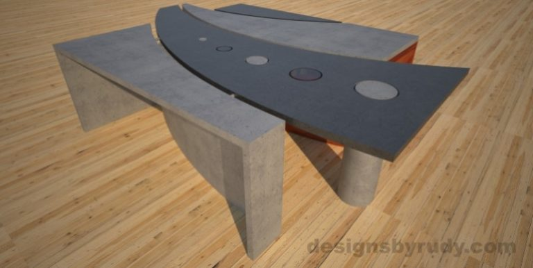 4 Concrete coffee table geometric series CIRCLES, Desings by Rudy