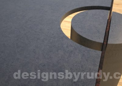 Concrete Coffee Table and Steel charcoal - corten, round leg closeup, DR30 Clean Cut