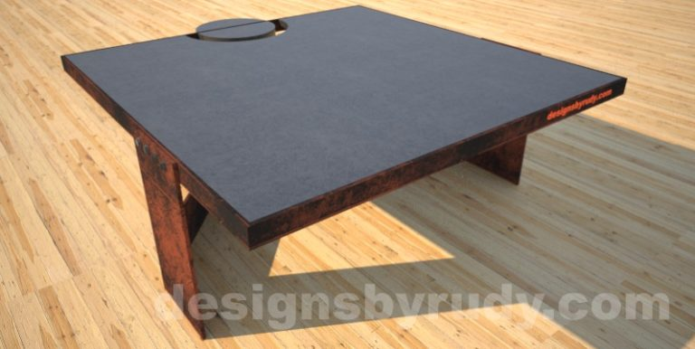 Concrete Coffee Table and Steel charcoal - corten, side view 2, DR30 Clean Cut