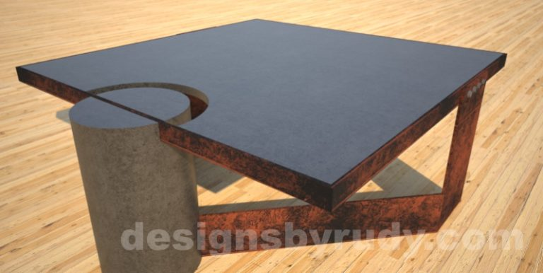 Concrete Coffee Table and Steel charcoal - corten, side view, DR30 Clean Cut