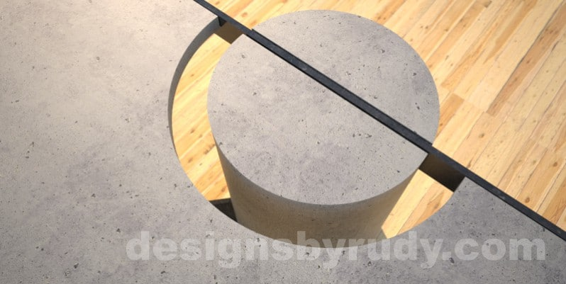 Concrete Coffee Table and Steel gray - black steel, column support detail, DR30 Clean Cut