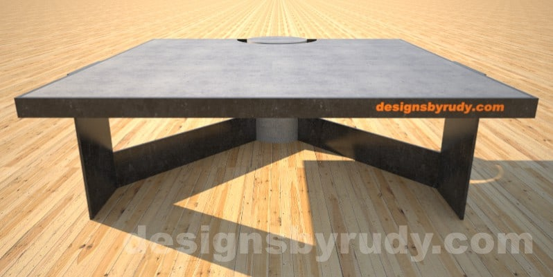 Concrete Coffee Table and Steel gray - black steel, full edge view, DR30 Clean Cut
