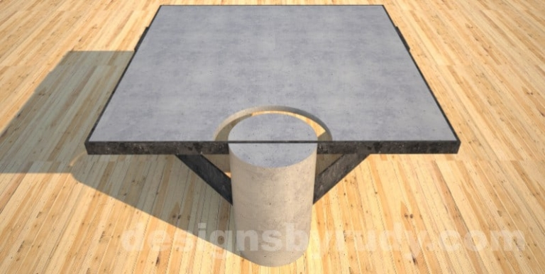 Concrete Coffee Table and Steel gray - black steel, full round column view, DR30 Clean Cut