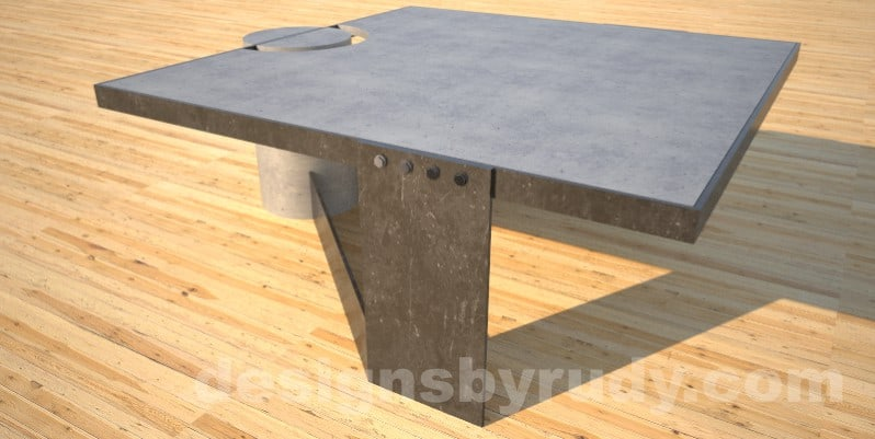 Concrete Coffee Table and Steel gray - black steel, full side view 2, DR30 Clean Cut