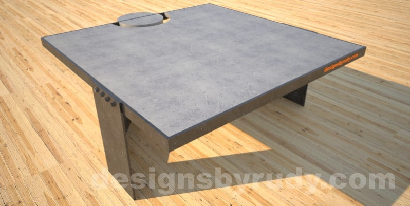 Concrete Coffee Table and Steel gray - black steel, full side view, DR30 Clean Cut