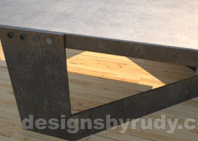 Concrete Coffee Table and Steel gray - black steel, support detail, DR30 Clean Cut