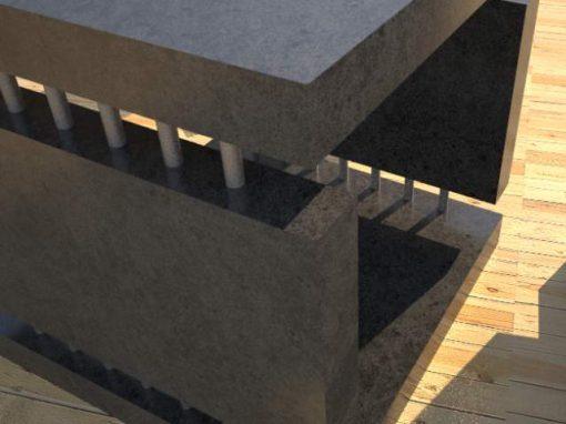 Concrete Side Table 4 Slabs Linked DR0