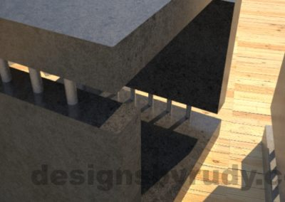 Concrete Side Table in charcoal, closeup, by Designs by Rudy DR0