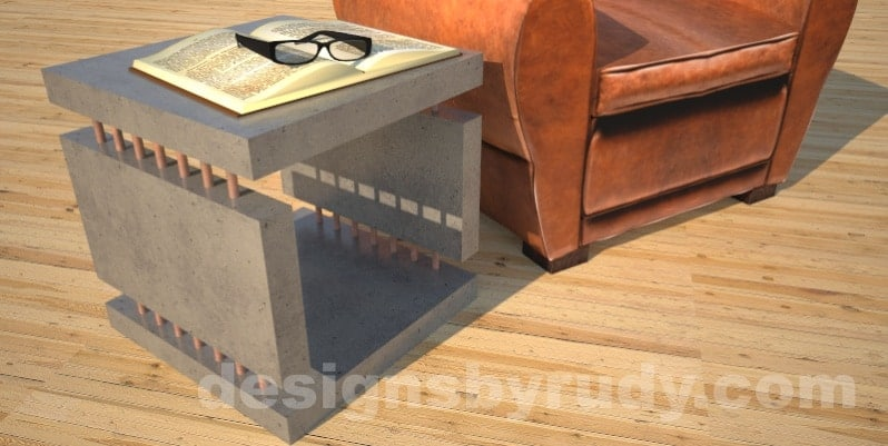 Concrete Side Table in gray with chair by Designs by Rudy DR0
