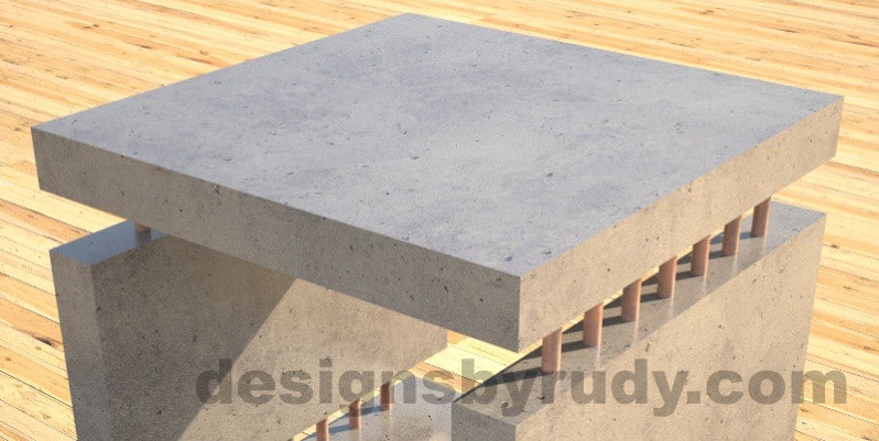 Concrete Side Table in grey, closeup, by Designs by Rudy DR0