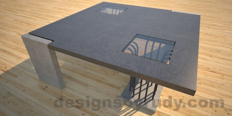 Concrete coffee table, Elevator, with glass and ,etal accents, charcoal top Desings by Rudy