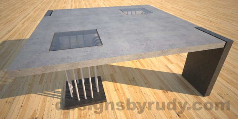 Concrete coffee table, Elevator, with glass and ,etal accents, grey top Desings by Rudy
