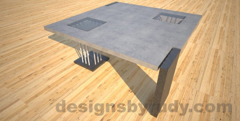 Concrete coffee table, Elevator, with glass and ,etal accents, grey top corner perspective Desings by Rudy
