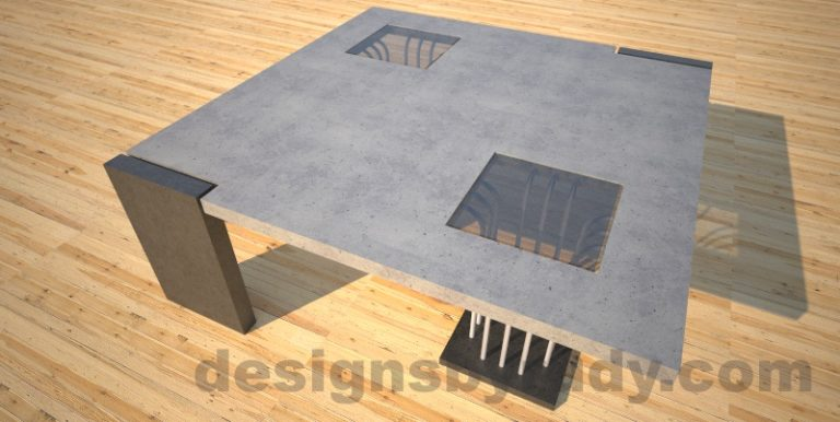 Concrete coffee table, Elevator, with glass and ,etal accents, grey top, elevator leg Desings by Rudy