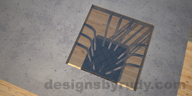 Concrete coffee table, Elevator, with glass and ,etal accents, grey top, elevator leg closeup Desings by Rudy