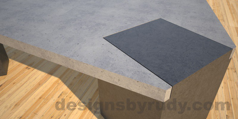 Concrete coffee table, Irregular Top, square column legs. angle corner closeup, Designs by Rudy