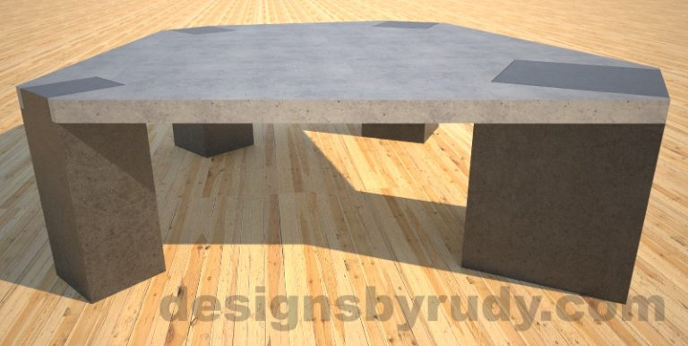 Concrete coffee table, Irregular Top, square column legs. side view, Designs by Rudy