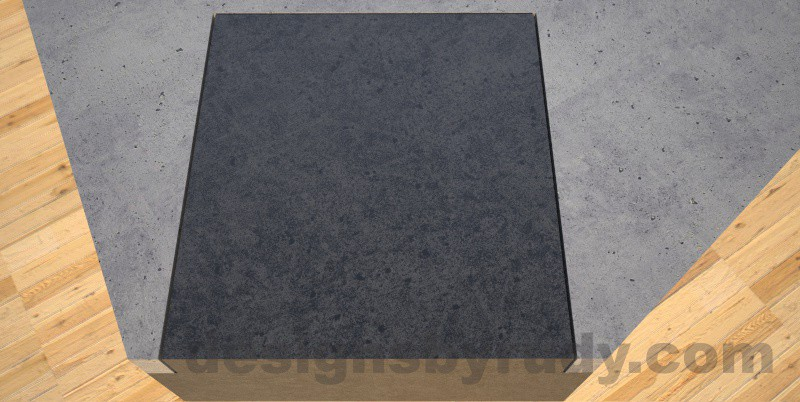 Concrete coffee table, Irregular Top, square column legs. top corner closeup, Designs by Rudy