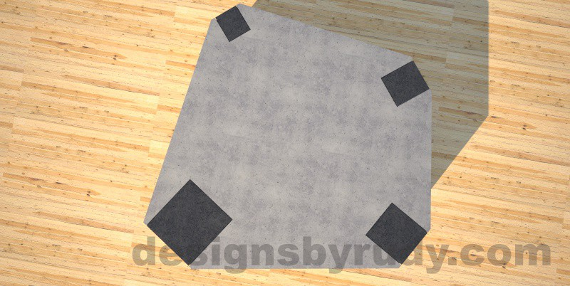 Concrete coffee table, Irregular Top, square column legs. top view, Designs by Rudy