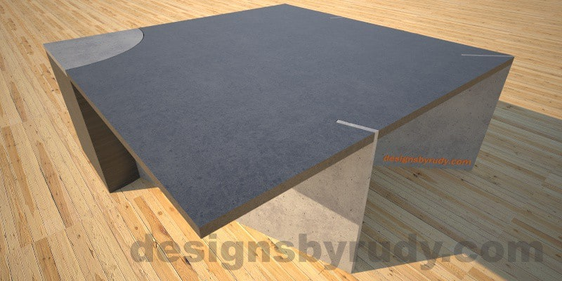 Concrete coffee table, slots side view, Desings by Rudy