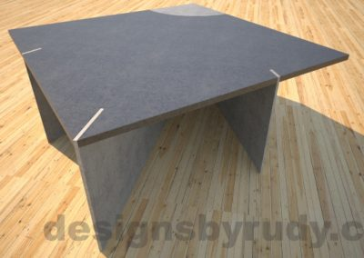 Concrete coffee table, slots, side view, slots front, Desings by Rudy