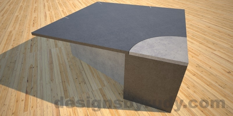 Concrete coffee table, slots, top view, leg angle, Desings by Rudy
