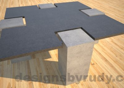 Concrete coffee table,CROSS 2.0 black and gray side view , Desings by Rudy