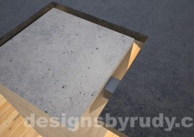 Concrete coffee table,CROSS 2.0 black and gray side view leg closeup , Desings by Rudy