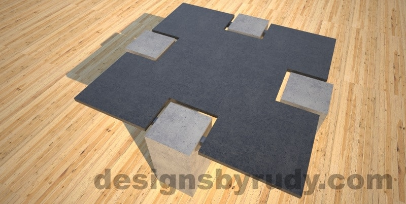 Concrete coffee table,CROSS 2.0 black and gray top , Desings by Rudy