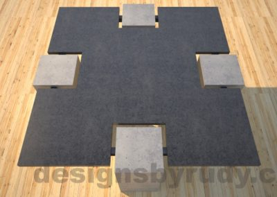 Concrete coffee table,CROSS 2.0 black and gray top view, Desings by Rudy