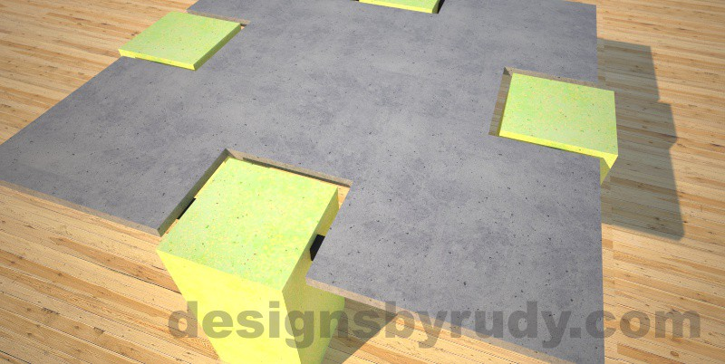 Concrete coffee table,CROSS 2.0 canary, Desings by Rudy