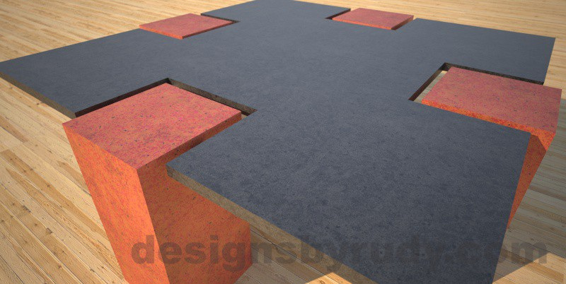 Concrete coffee table,CROSS 2.0 terra cotta, Desings by Rudy