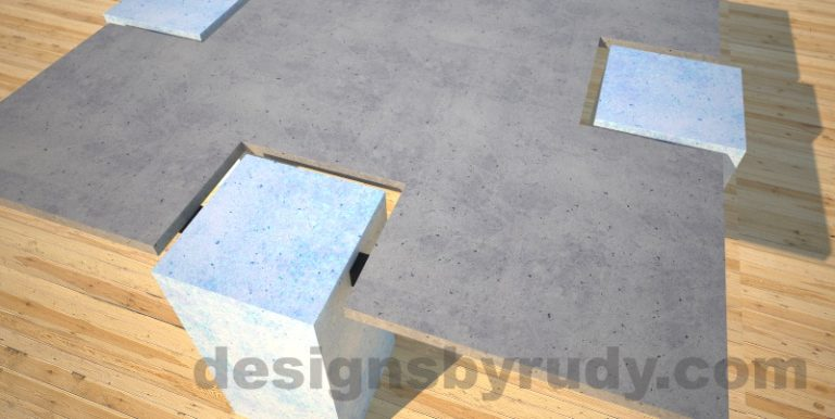 Concrete coffee table,CROSS 2.0 vintage blue, Desings by Rudy