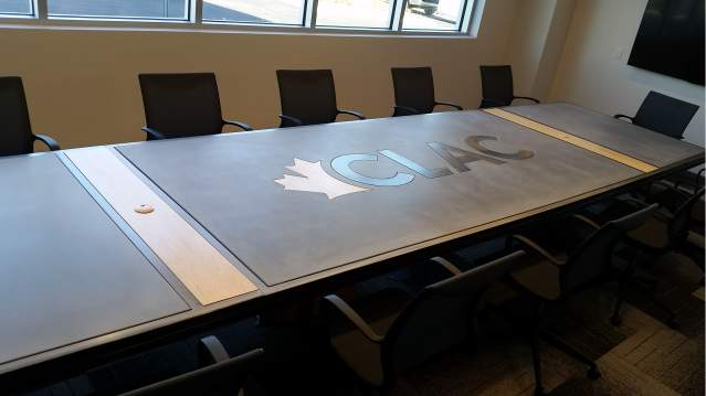 Steel, Wood, and Concrete Board Room Table by Designs by Rudy