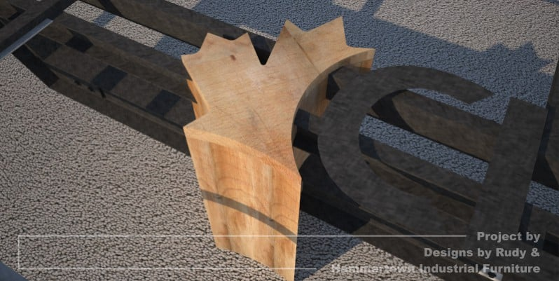 Steel, wood, and concrete conference room table designed by Designs by Rudy and handcrafted by Hammertown Industrial Furniture Maple leaf shaped support leg view