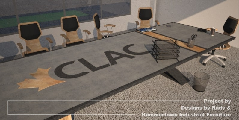 Steel, wood, and concrete conference room table designed by Designs by Rudy and handcrafted by Hammertown Industrial Furniture - finished table CLAC logo closeup