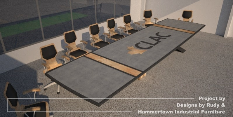 Steel, wood, and concrete conference room table designed by Designs by Rudy and handcrafted by Hammertown Industrial Furniture - finished table CLAC logo far angle