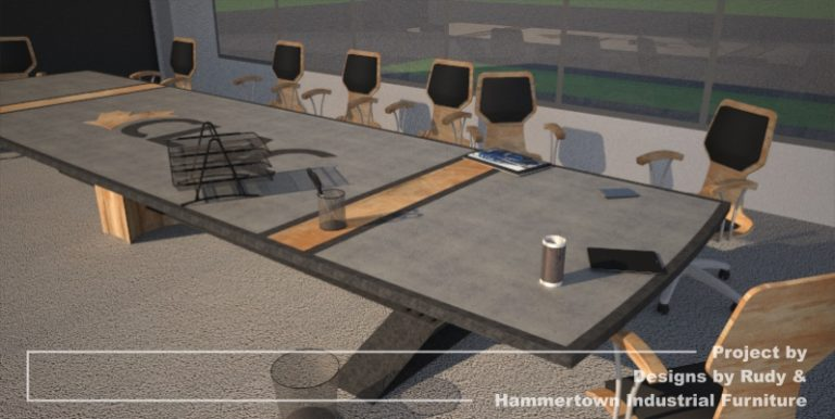 Steel, wood, and concrete conference room table designed by Designs by Rudy and handcrafted by Hammertown Industrial Furniture - finished table corner view with chairs